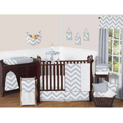 Sweet Jojo Designs Chevron 11-Piece Crib Bedding Set in Grey and White
