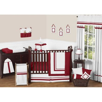 Sweet Jojo Designs Hotel 11-Piece Crib Bedding Set in White and Red