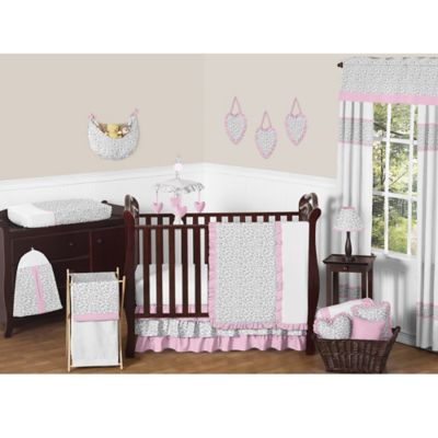 Sweet Jojo Designs Kenya 11-Piece Crib Bedding Set in Pink and Grey