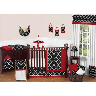 Sweet Jojo Designs 11-Piece Trellis Crib Bedding Set in Red/Black
