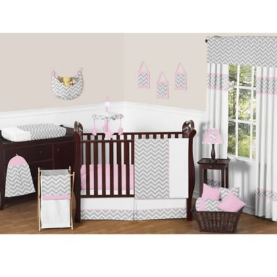 Sweet Jojo Designs Zig Zag 11-Piece Crib Bedding Set in Pink/Grey