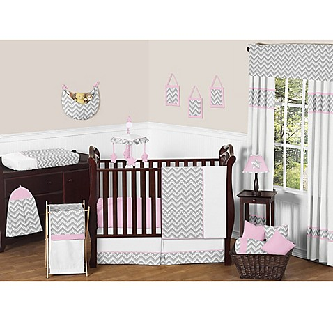 Sweet jojo designs zig zag crib bedding collection in pink for Zig zag bedroom ideas