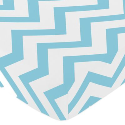 Sweet Jojo Designs Chevron Fitted Crib Sheet in Turquoise and White