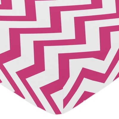 Sweet Jojo Designs Chevron Fitted Crib Sheet in Pink and White