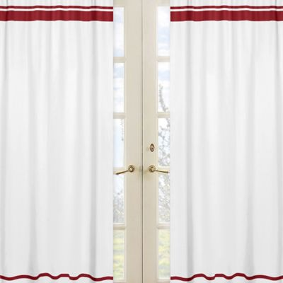 Sweet Jojo Designs Hotel Window Panel Pair in White and Red