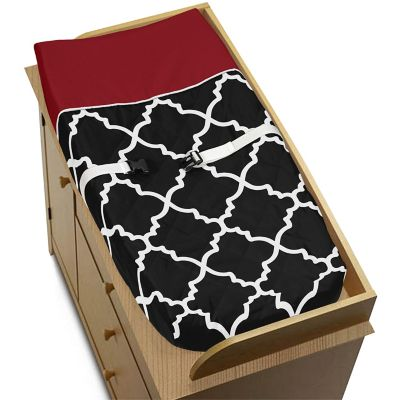 Sweet Jojo Designs Trellis Changing Pad Cover in Red and Black