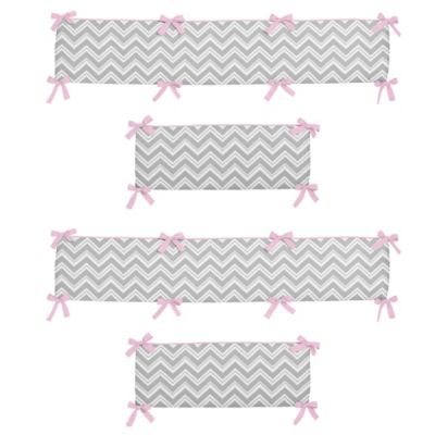 Sweet Jojo Designs Zig Zag 4-Piece Crib Bumper in Pink/Grey