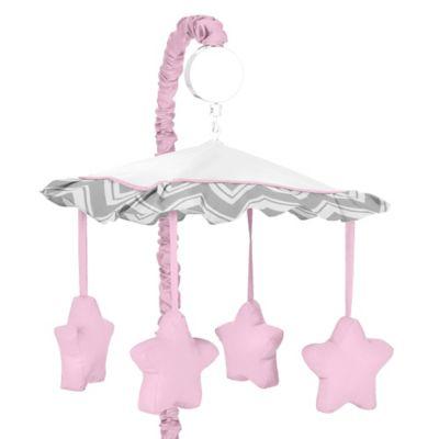 Sweet Jojo Designs Zig Zag Musical Mobile in Pink/Grey