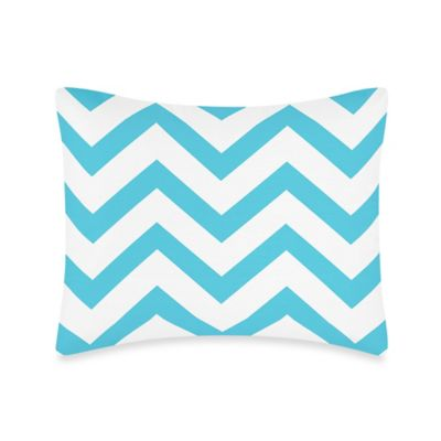 Sweet Jojo Designs Chevron Pillow Sham in Turquoise and White