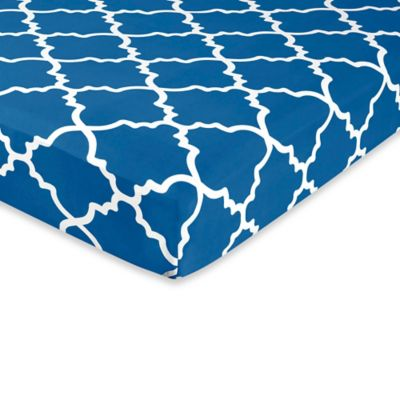 Sweet Jojo Designs Trellis Print Fitted Crib Sheet in Blue