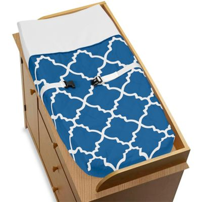 Sweet Jojo Designs Trellis Changing Pad Cover in Blue