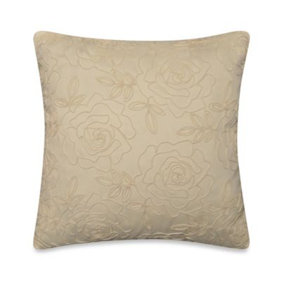 Rose Embroidery Square Throw Pillow in Cream
