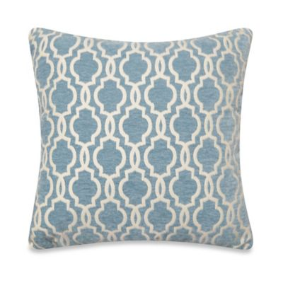 Gwen Tile Square Throw Pillow in Smoke Blue