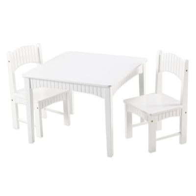 Tree House Lane Table and 2 Chairs Set in White