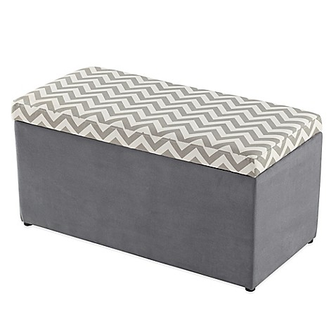 tree house lane chevron upholstered toy chest in grey and. Black Bedroom Furniture Sets. Home Design Ideas