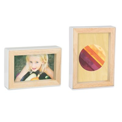 Umbra® Fotoblock Double-Sided 4-Inch x 6-Inch Frame in White/Natural