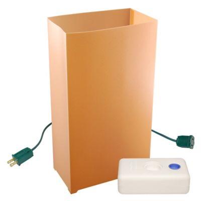 Electric Luminaria Kit with 10-Count Tan LumaBase Lanterns