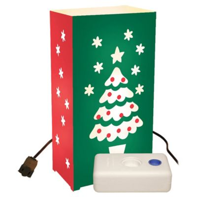 Electric Luminaria Kit with 10-Count Christmas Tree LumaBase Lanterns