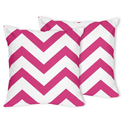 Sweet Jojo Designs Chevron Throw Pillows in Pink and White (Set of 2)