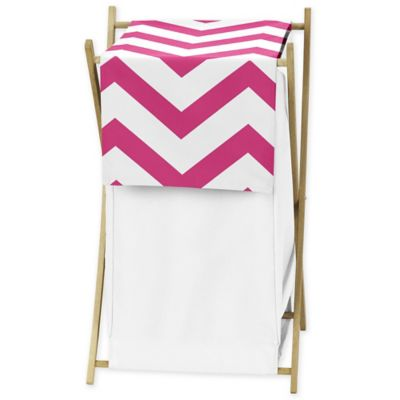 Sweet Jojo Designs Chevron Hamper in Pink and White