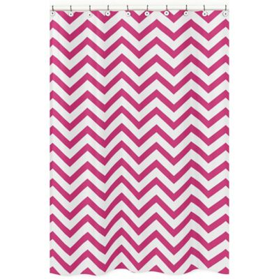 Sweet Jojo Designs Chevron Shower Curtain in Pink and White