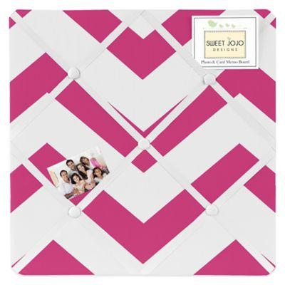 Sweet Jojo Designs Chevron Fabric Memo Board in Pink and White