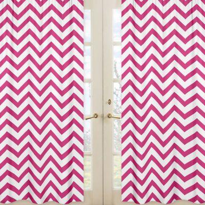 Sweet Jojo Designs Chevron Window Panel Pair in Pink and White