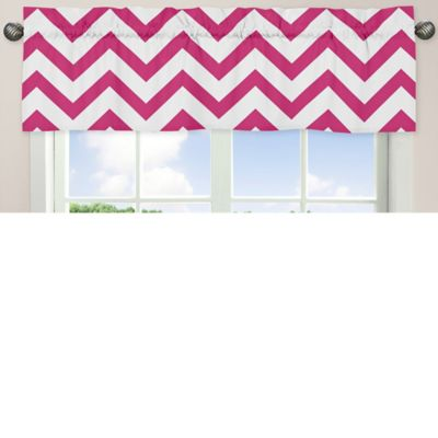 Sweet Jojo Designs Chevron Window Valance in Pink and White