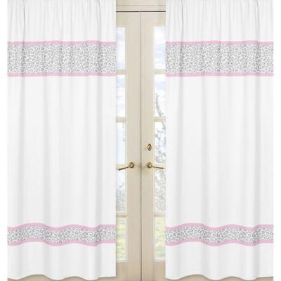 Sweet Jojo Designs Kenya Window Panel Pair in Pink and Grey
