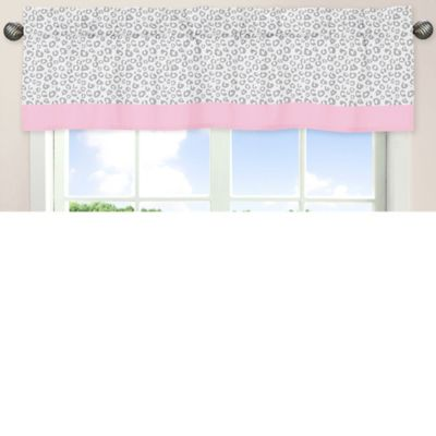 Sweet Jojo Designs Kenya Window Valance in Pink and Grey