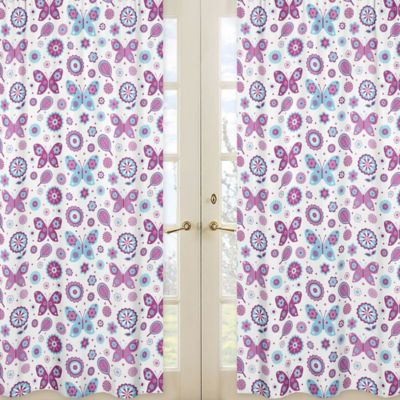 Sweet Jojo Designs Spring Garden Window Panel Pair in Floral Butterfly Print