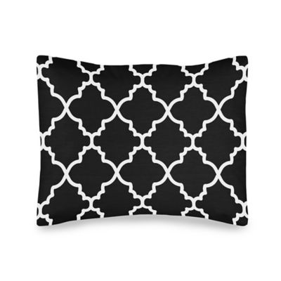 Sweet Jojo Designs Trellis Standard Pillow Sham in Black and White