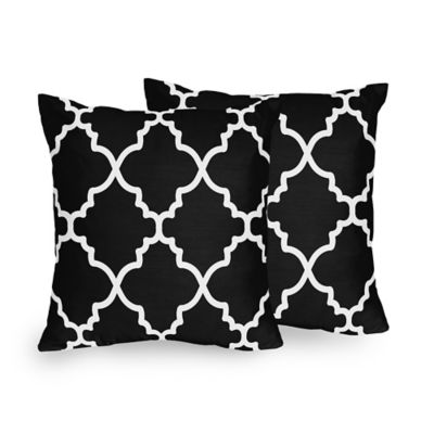 Sweet Jojo Designs Trellis Square Throw Pillows in Black and White (Set of 2)