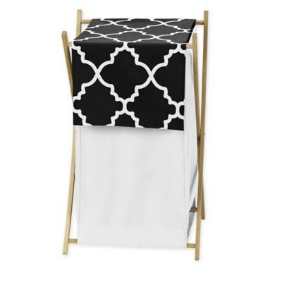 Sweet Jojo Designs Trellis Hamper in Black and White