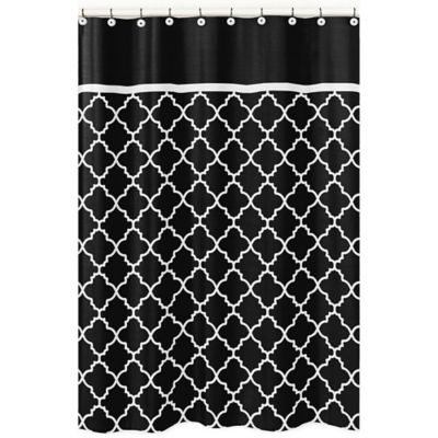 Sweet Jojo Designs Trellis Shower Curtain in Black and White