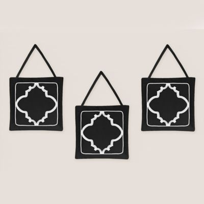 Sweet Jojo Designs Trellis 3-Piece Wall Hanging Set in Black and White