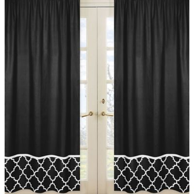 Sweet Jojo Designs Trellis Window Panel Pair in Black with Trellis Border