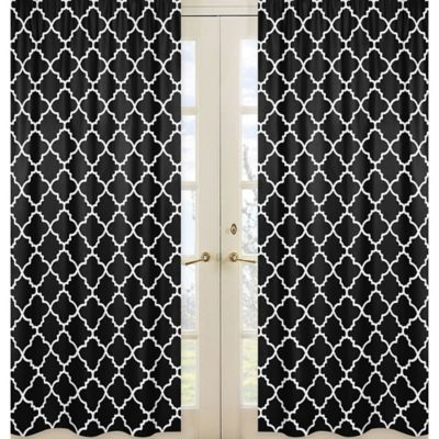 Sweet Jojo Designs Trellis Window Panel Pair in Black and White