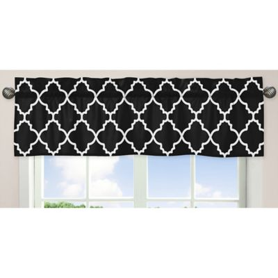 Sweet Jojo Designs Trellis Window Valance in Black and White
