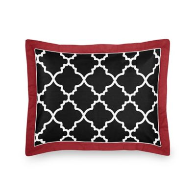 Sweet Jojo Designs Trellis Standard Pillow Sham in Red/Black