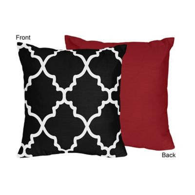 Sweet Jojo Designs Trellis Square Throw Pillow in Red/Black