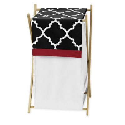 Sweet Jojo Designs Trellis Laundry Hamper in Red/Black