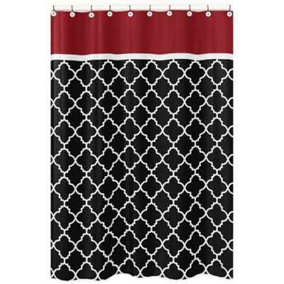 Sweet Jojo Designs Trellis Shower Curtain in Red/Black