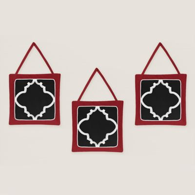 Sweet Jojo Designs Trellis 3-Piece Wall Hanging Set in Red/Black