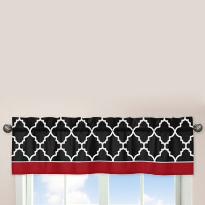 Sweet Jojo Designs Trellis Window Valance in Red/Black