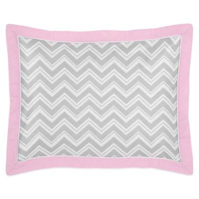 Sweet Jojo Designs Zig Zag Standard Pillow Sham in Pink/Grey