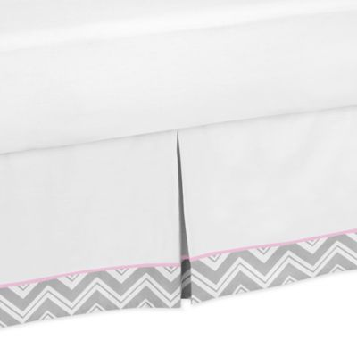 Sweet Jojo Designs Zig Zag Queen Bed Skirt in Pink/Grey