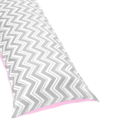 Sweet Jojo Designs Zig Zag Reversible Body Pillow Cover in Pink/Grey