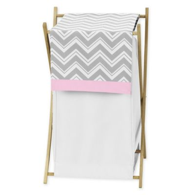 Sweet Jojo Designs Zig Zag Hamper in Pink/Grey