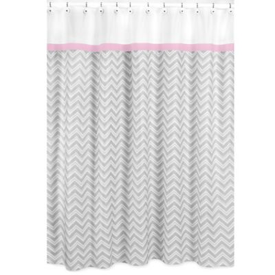 Sweet Jojo Designs Zig Zag Shower Curtain in Pink/Grey